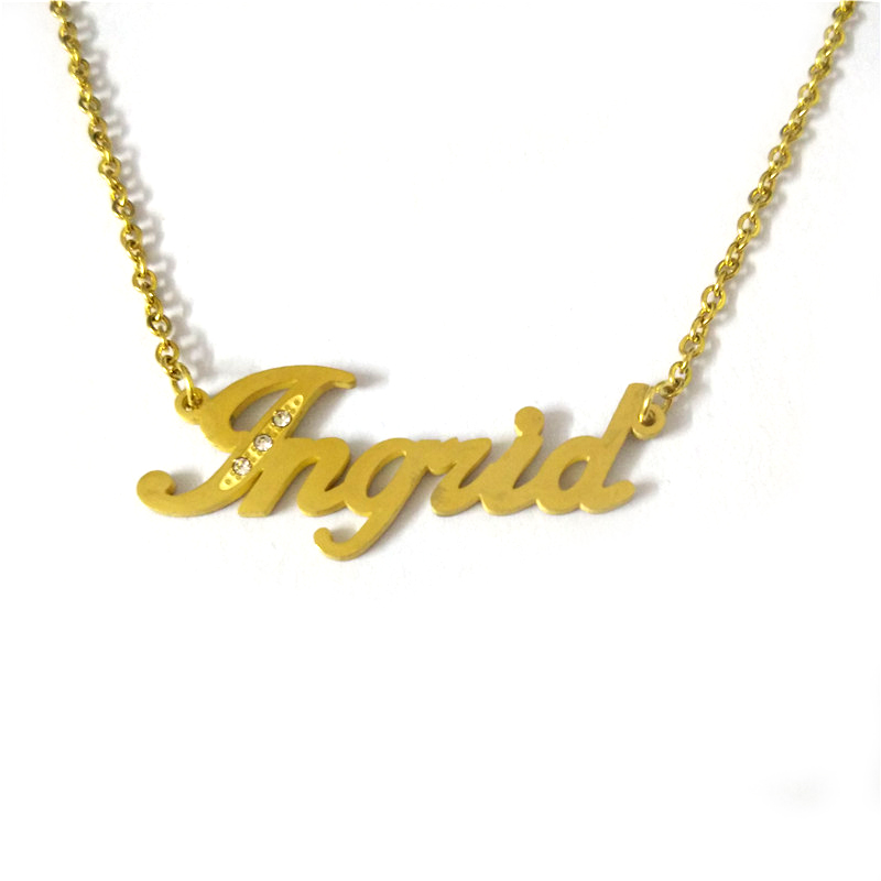 5c8df4af8 Product Name: Name Necklace Product Style: Simple. Product Material: Stainless  steel. Available colors: as shown. Product packaging:Simple OPP bag  packaging