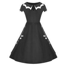 b8a78d336 Wipalo Gótico Vestido de Verão Mulheres Vestido Preto Bat Bordado Oca-Out  Cor Bloco Peter
