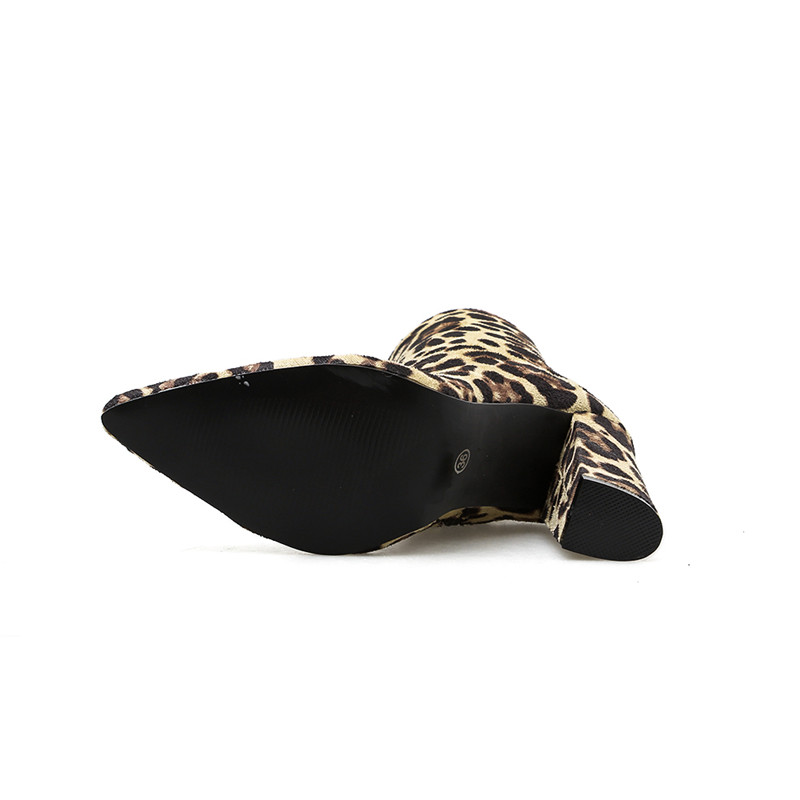 Haute blanc Bottes Talons Zipper Court Taille Orange Bloc Léopard Dames Serpentine Femme Mignon Cm 10 Fétiche Chaussures 2019 Cheville Femmes 40 PX8q8RC