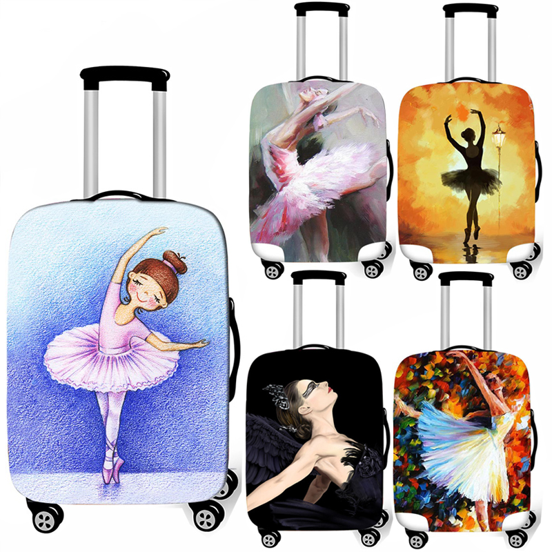 Cute Ballet Shoes Print Luggage Suitcase Protective Cover Thicken Elastic Anti-dust Trolley Case Covers For 18-32 Inch Case