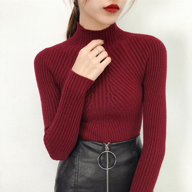 Pullover Winter Long Sweater Female Jersey Oversized Sweater Women Autumn Women Knitted Sweaters Pull Turtleneck Ladies Red 2018
