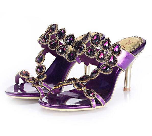 ФОТО Women Sandals Rhinestone Sheepskin Leather Sandals Thin Heel Diamond Wedding Shoes Open Toe High-heeled Party Shoes
