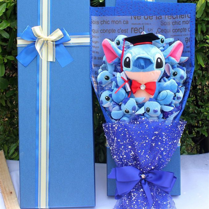 Babiqu piękne sztuczne Cartoon zabawki pluszowe Stitch festiwal prezent bukiet z fałszywe kwiaty walentynki prezent z okazji ukończenia szkoły Party Decor w Pluszowe zwierzęta od Zabawki i hobby na AliExpress - 11.11_Double 11Singles' Day 1