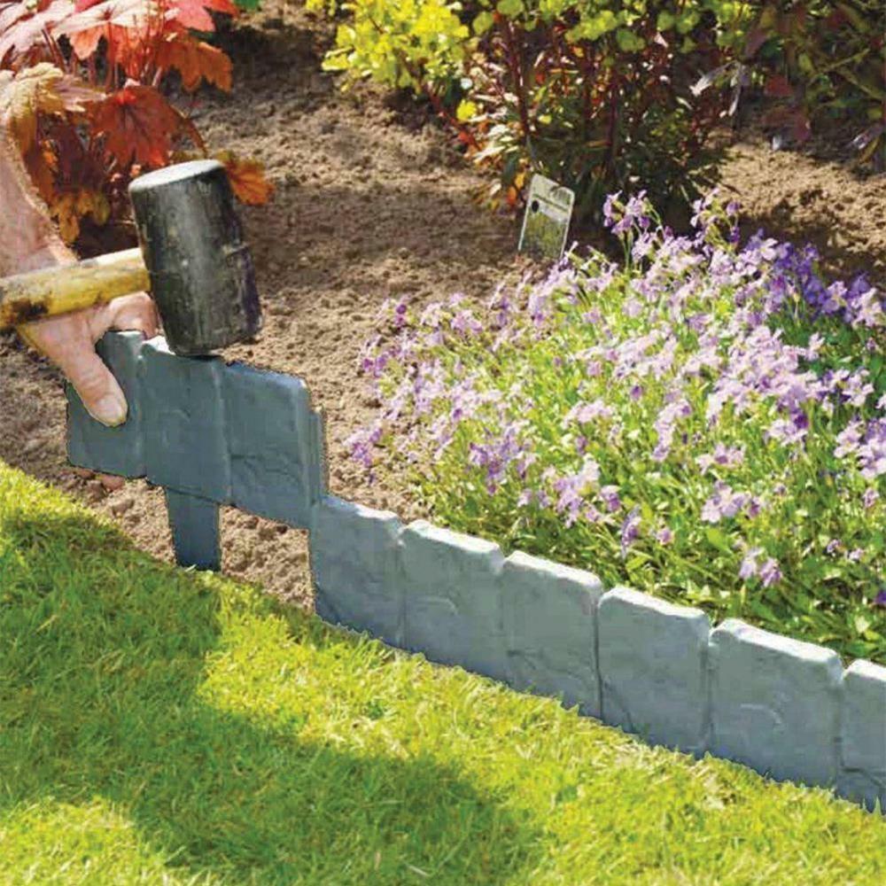 1-10pcs 10x25cm Plastic Garden Lawn Grass Edging Border Traditional Grey Stone Effect Mulch Plant Divider