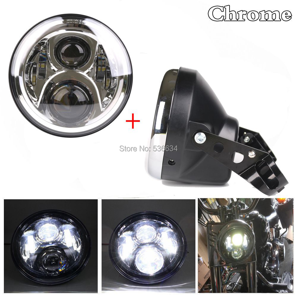 7 Inch Daymaker Projector led headlight DRL with Headlamp Shell or Lamp Shell for Harley Davidson Softail Deluxe