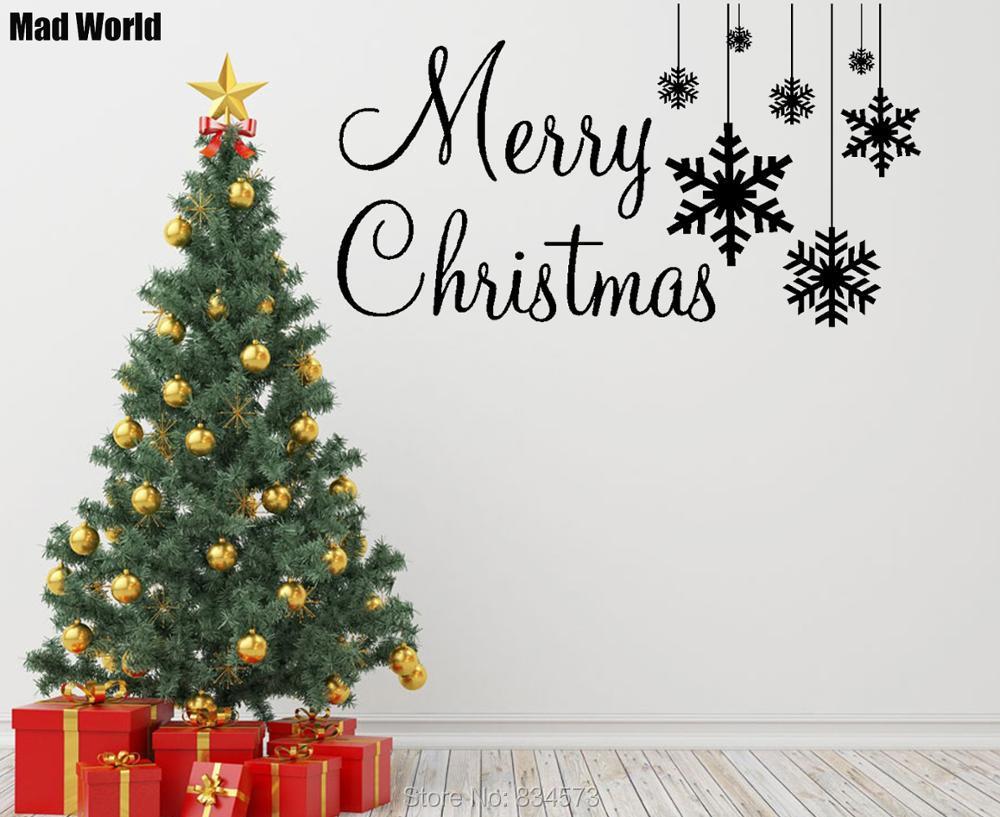 Mad Welt Frohe Weihnachten Schneeflocken Quote Aufkleber Wandtattoo ...