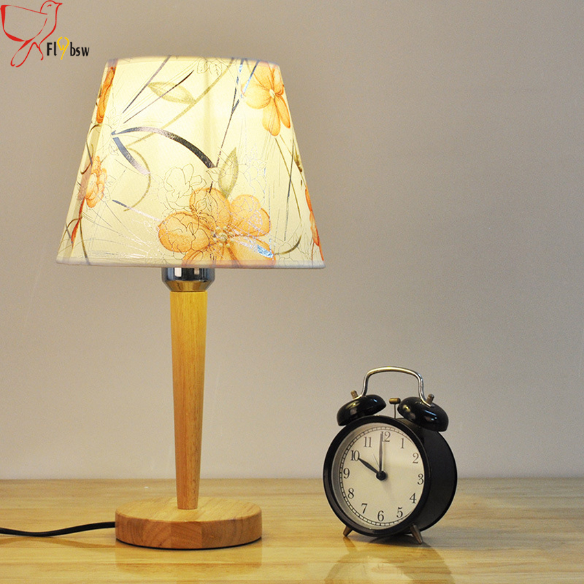 Modern simple wooden table lamp bedroom bedside reading lamp cloth lampshade wood base E27 creative led table light desk lamp beiaidi 3d vision owl led night light dimmable led table lamp for bedroom wooden base bedside table lamp creative holiday gift