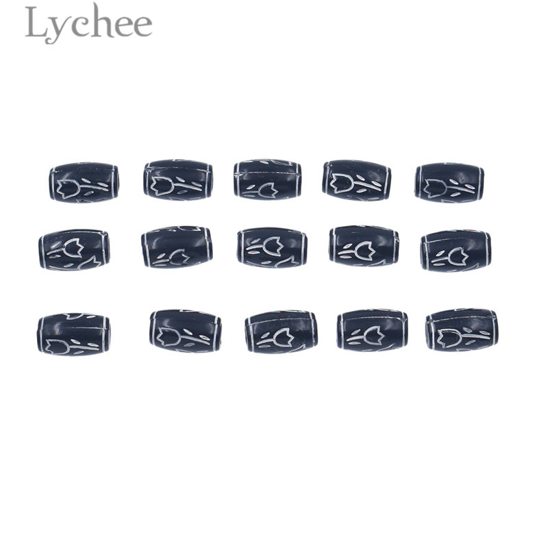 Lychee 15pcs/lot Vintage Plastic White Flower Carved Black Hair Braid Dread Dreadlock Beads Cuffs Clips Headwear Accessories