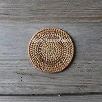 اليدوية الصينية الشاي الوقايات الحصير الروطان الصحن وعاء الحرارة سادة العزل لجدول الخيزران إبريق الشاي مجموعة