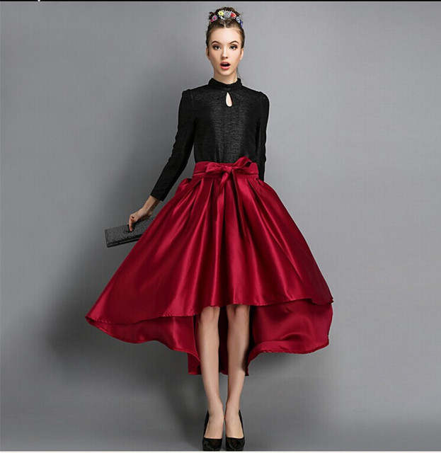 33c809a94 Autumn Maxi Long Skirts Womens Runaway Satin Vintage High Waist Asymmetrical  Mermaid Red Bow Belt Skirt