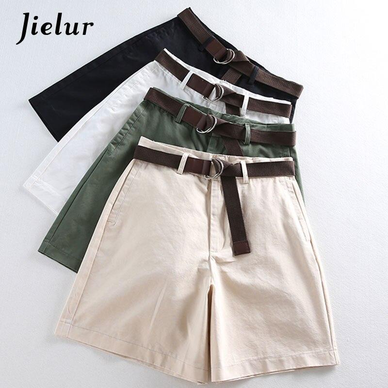 Jielur All-match 4 Solid Color Sashes Casual Women Shorts A-line High Waist Slim Summer Shorts Feminino Chic S-XXL Ladies Bottom