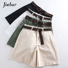 Jielur All-match 4 Solid Color Sashes Casual Women Shorts A-line High Waist Slim Summer Shorts Feminino Chic S-XXL Ladies Bottom(China)