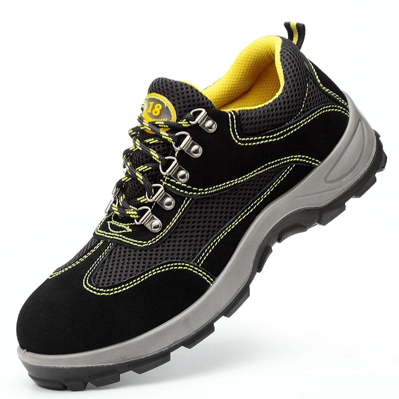 Hommes décontracté grande taille respirante en acier orteil couvre travail chaussures de sécurité antidérapant plate-forme constructeur outillage sécurité bottes protection