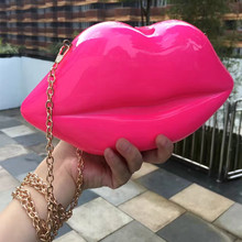 Designer handbag fashion personality lips shape pink girl night clutch shoulder bag mini bag women messenger bag purse party bag