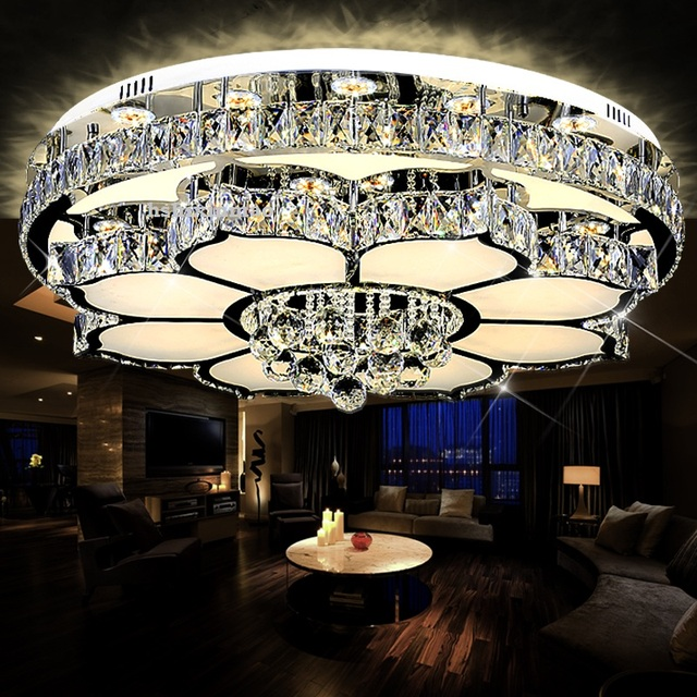 Living room lamp crystal circular LED ceiling light modern simple single layer double layer warm bedroom dining room lamp