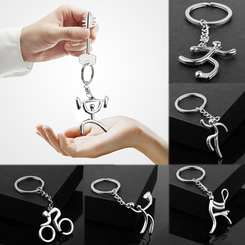 2019 New Arrival 1PC Jewelry Basketball Cycling Silvery Sport Key Chain 6 Models Soccer Running Weightlifting Keychain Ring