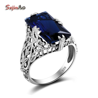 Luxury Design Fashion Square Big Sapphire Real 925 Sterling Silver Vitage Rings For Women Engagement Jewelry