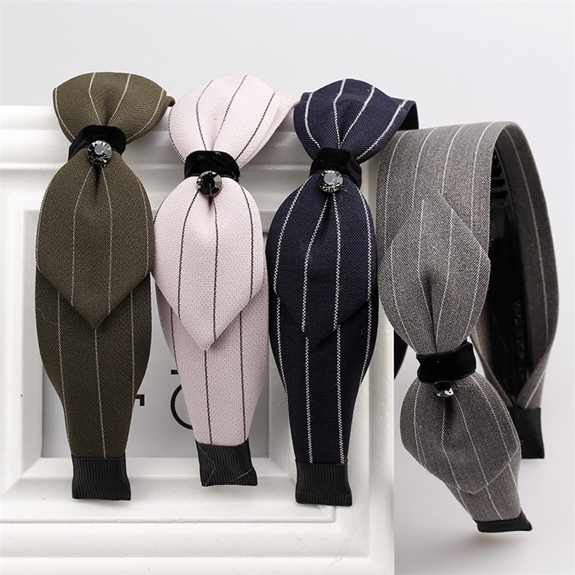 Haimeikang Fashion Trend Stripe Fabric Hairband For Women Hair Accessories Diamond Bow Headband Sweet Lady Tiara Headwear