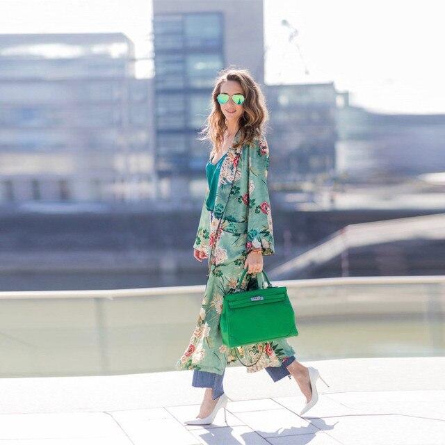 2017 plus size kimono cardigan casual summer blusa manga comprida feminina women's shirts and brands printing flower blouses