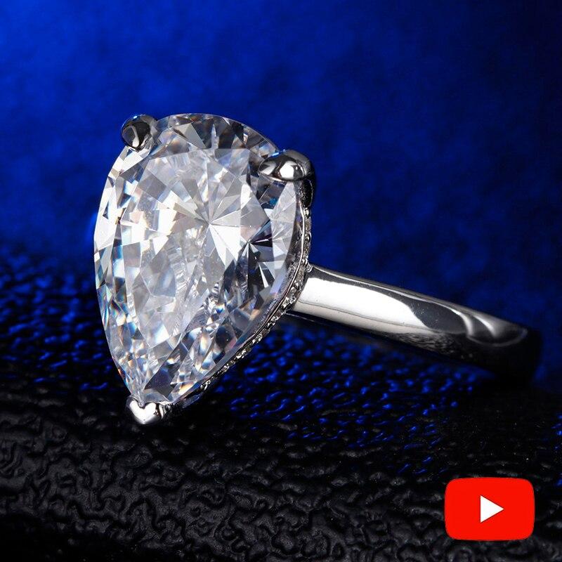 5 Carat pear Cut 14 10mm S925 Sterling Silver Ring SONA Diamond solitaire Fine Ring Unique