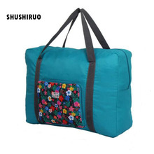 SHUSHIRUO Stor Kapacitet Foldning Resväska Vattentät Unisex Bagage Oxford Duffle Bag Blommönster Klädförvaring Handväskor