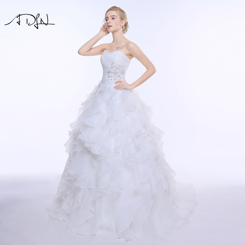 ADLN Stock Corset Wedding Dress 2017 vestidos de noiva A-line Ivory/White Ruffles Plus Size Bridal Gowns 6