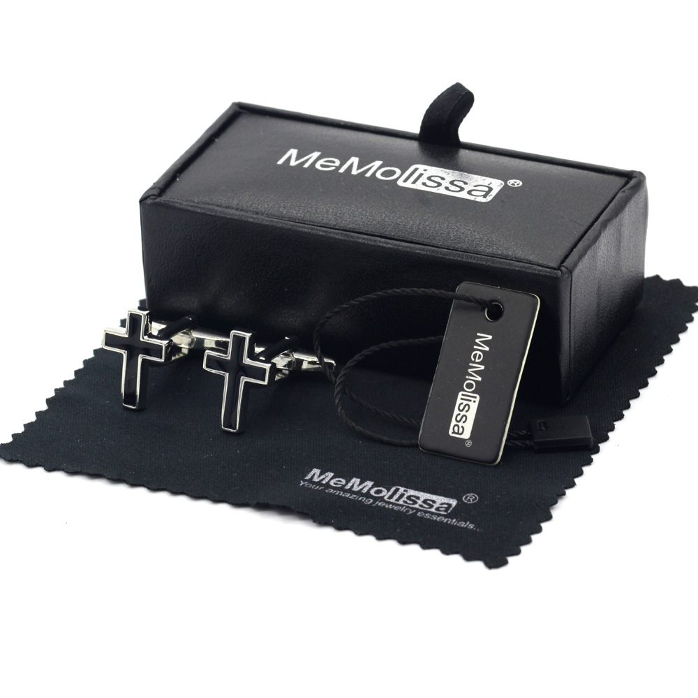 MeMolissa Display Box Religion Iron Cross Cufflinks Mens Button Silver With Black Enamel Plated Jewelry Free Tag & Wipe Cloth