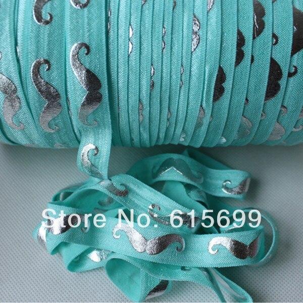 wholesale silver mustache foe ribbon 314 aqua elastic band for hair