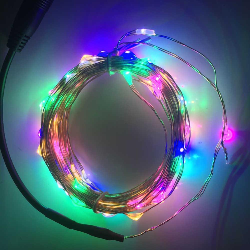 Lampu LED String 5 M 3AA Baterai Usb Kawat Tembaga String Lampu Luar Ruangan Lampu Peri untuk Xmas Pesta Garland pernikahan