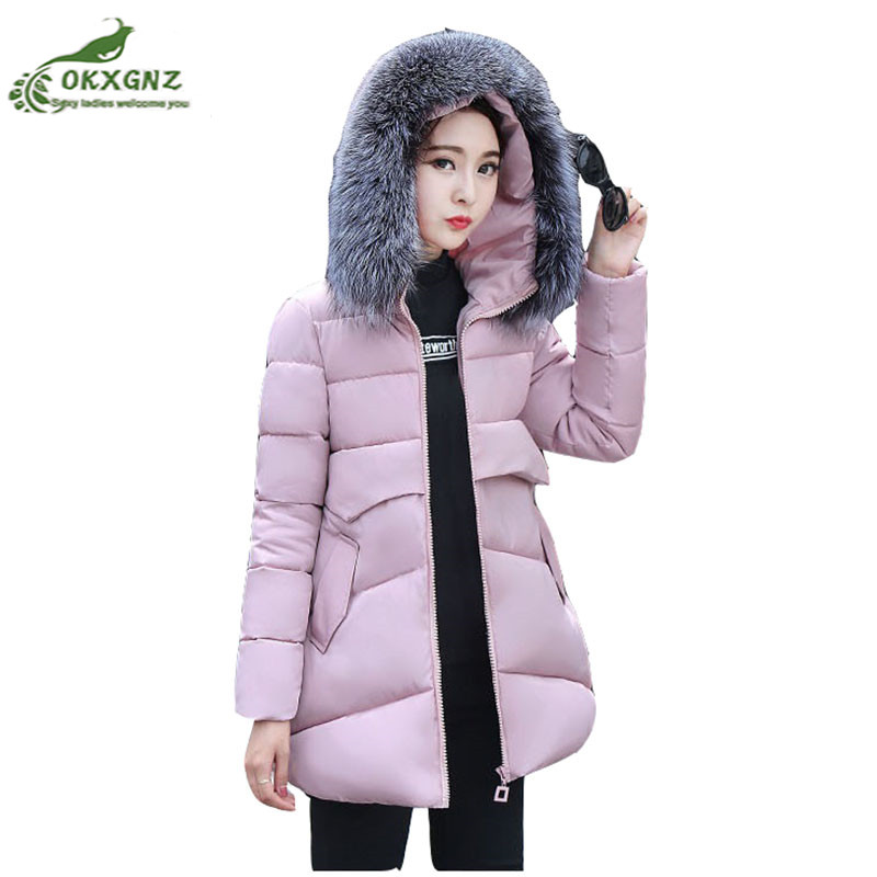 Autumn winter new Down cotton Outerwear women medium long thickening Slim jacket coat women large size warm coat tide OKXGNZ baby rompers 2016 spring autumn style overalls star printing cotton newborn baby boys girls clothes long sleeve hooded outfits