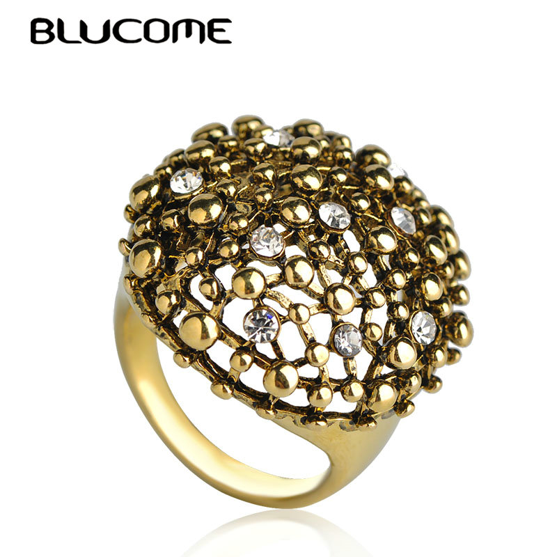 Blucome Vintage Antique Gold Color Big Size Rings For Women Lady Party Anniversary Accessories Crystal Alloy Jewelry Love Ring