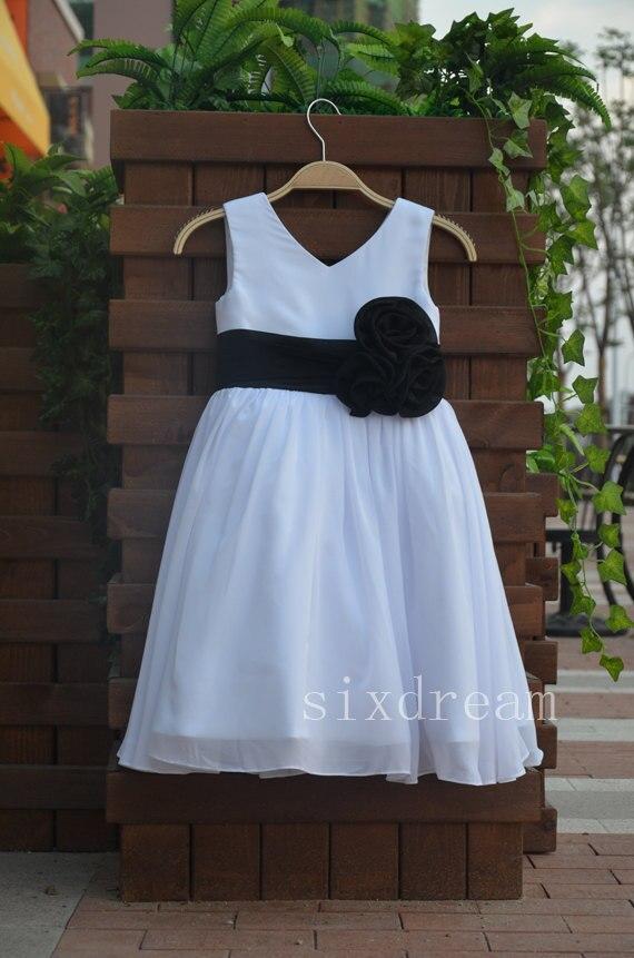 White with black sash flower girl gardening flower and vegetables modern white flower girl dress with black sash images best evening mightylinksfo