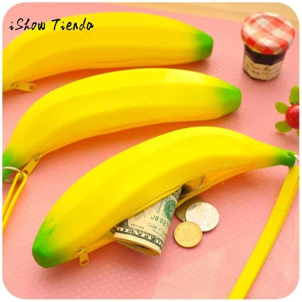 Silicone Portable Banana Coin Pencil Storage Bag Case Purse Unisex Men Women Novelty Metal Zipper Waterproof packaging 21x4x5 cm