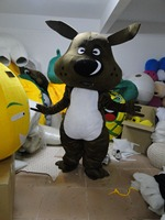Black Dog Mascot Costume With Black Suit Small White Eyes Adult Size Cartoon Character Party Suit with free shipping