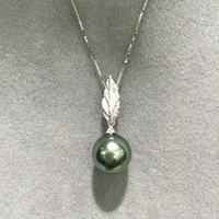 10MM Fine Women Jewelry Genuine Natural Tahitian Pearl Pendant Necklace 18K White Gold With Real Diamond