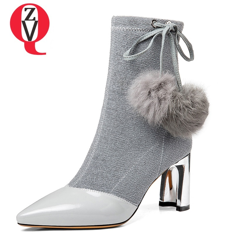 ZVQ shoes women 2018 winter new genuine leather Martin boots elastic boots pointed toe high hoof heels zip ladies mid calf boots 2017 winter female high heeled shoes solid high quality women casual boots zipper women mid calf boots pointed toe martin boots