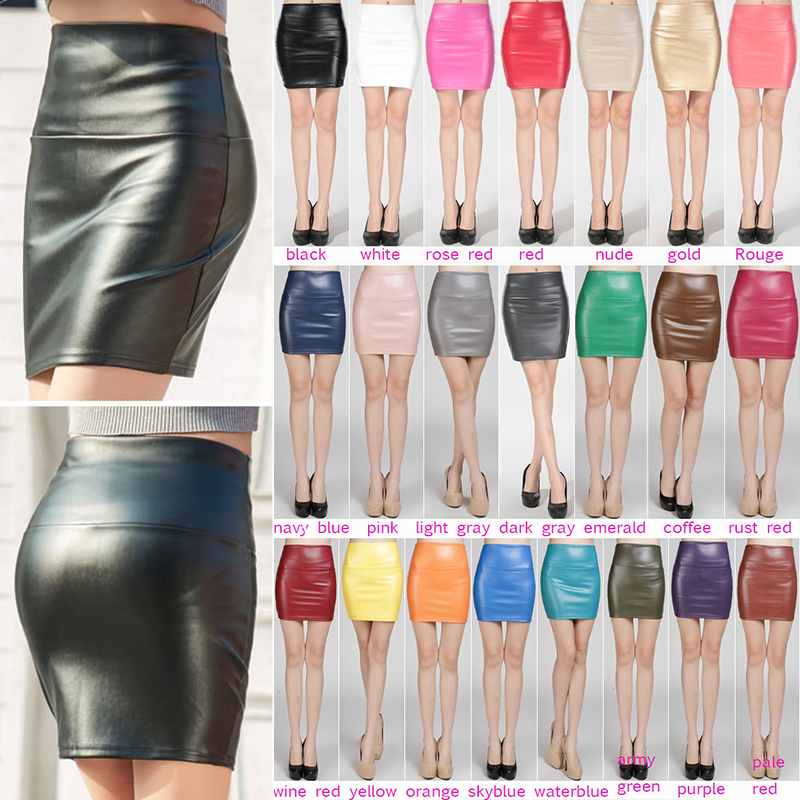 Women Pu Leather Skirts Autumn Winter Streetwear Casual Office Lady Bodycon Sexy Tight Pencil Skirt Mini Velvet Skirt Women Jupe