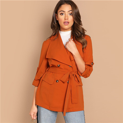 Sheinside Casual Orange Single Button Kerb Kragen Blazer Frauen 2019 Frühling Doppel Tasche Blazer Damen Solide Trim Blazer Blazer Anzüge & Sets