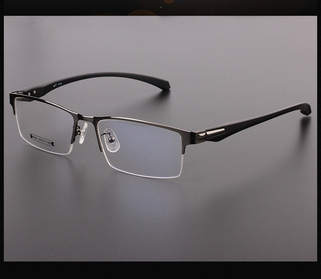 9a430ed32d7 Man Myopia Glasses Metal Optical Male Alloy Semi Rimless Eyeglasses Frame  High End Quality Business Spectacle Classic Eyewear