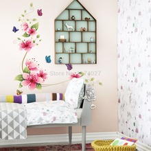 Free shipping New Flower Butterfly Wall Stickers Beautiful Home Decor Decoration Removable art decals