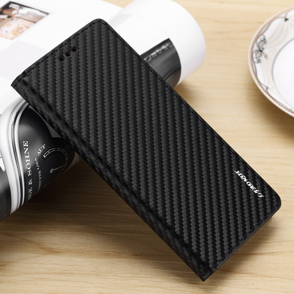 Magnetic <font><b>Flip</b></font> Wallet <font><b>Case</b></font> For Samsung Note9 S5 NEO S6 S7 edge Leather Kickstand Capa For S10 S9 S8 Plus Cabon Fiber Slim Cover image