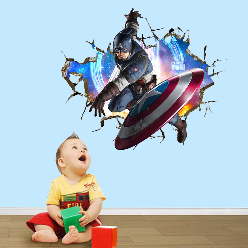 Boys marvel avengers break hole wall stickers decals anime hero boys marvel avengers break hole wall stickers decals anime hero super man wallpaper mural children home room nursery cute decor amipublicfo Choice Image