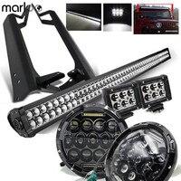 Marloo для Jeep TJ 1997 2006 7 дюймов 75 Вт светодиодный фары и 52 300 Вт светодиодный бар и 18 Вт стручки свет работы и монтажные кронштейны TJ комплект