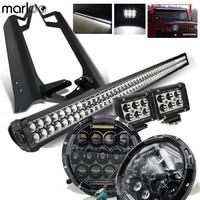 Marloo For Jeep TJ 1997 2006 7 Inch 75W LED Headlights 52 300W Led Bar 18W