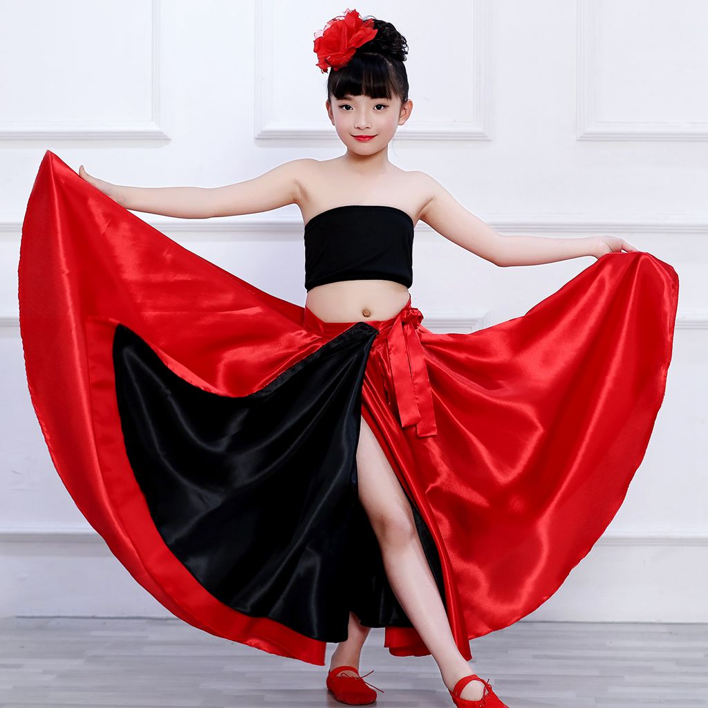 Dropshipping Spanish Dance Costumes Children Spanish Flamenco Skirt  Girls Belly Dance Skirt Belly Dance Clothes 540 Degree