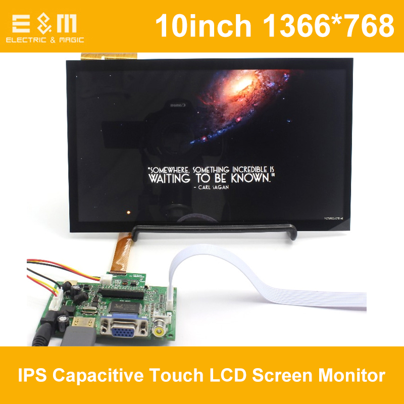 E&M 10 inch 1366x768 IPS Capacitive Touch LCD Screen Monitor Auto Backing Priority For <font><b>Raspberry</b></font> <font><b>Pi</b></font> <font><b>Display</b></font> Monitor <font><b>HDMI</b></font> VGA USB image