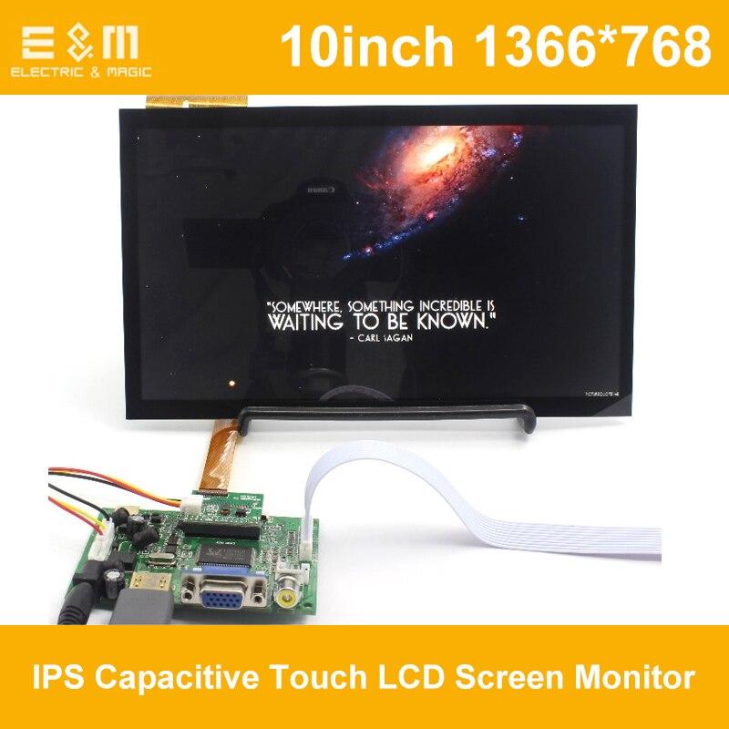 E & M 10 pouce 1366x768 IPS Capacitif Tactile LCD Écran Moniteur de Soutien Automatique Priorité Pour Raspberry Pi affichage Moniteur HDMI VGA USB