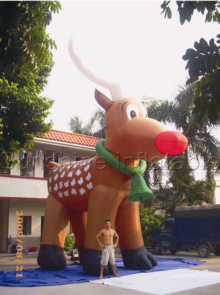 6m Giant Inflatable Christmas Deer Christmas Inflatables Reindeer With  Green Bells And White Horns For Advertising N Decoration In Ball Ornaments  From Home ...