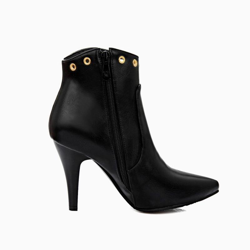 Nuevo Casual Invierno Pointed red Mujeres Nieve Moda Mujer 2017 black De rojo Fur Zip Para With Negro Tobillo Botas Tacones Zapatos Sexy A22 Las Fur Hebilla Toe IqtwaaXy