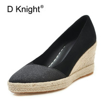 2019 New Wedge Women's Shoes Spring Autumn Flock Soft Women Pumps Slip On Casual Platform High Heels Red Lady Shoes Plus Size 41 hot spring 2017 new british style fashion women white blue jeans embroidery flower rivets slip on wedge pumps casual shoes